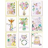 9 Kreative Grußkarte Geburtstagskarten für Kinder mit Tiermotiven Glückwunschkarte mit Umschlag Grusskarte zum Geburtstag Geburtstagskarte Karte zur Geburt Abschied Karte