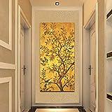 Traditionelle Glücksbaum und Vögel Plakate und Drucke Goldene Wandkunst Leinwandbilder an der Wand für Wohnzimmer Gang Dekor-60x120cm ohne Rahmen
