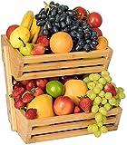 Bossjoy Bambus Obstkorb Schüsselhalter, Gemüse Ei Brot Aufbewahrungsschale Korbhalter für Küchenarbeitsplatte, Home Dekorative Lagerung
