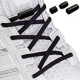 Laceton Elastische Schnürsenkel | Schnellschnürsystem mit hochwertigem Metall Lock-Verschluss - Stylischer Komfort und starker Halt | Schnürsenkel-Set, Nie mehr Schuhe binden (Schwarz)