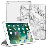 Fintie Hülle für iPad 9.7 Zoll 2018/2017 - Ultradünn Schutzhülle mit transparenter Rückseite Abdeckung Cover mit Auto Schlaf/Wach für 9.7' iPad 6. Generation / 5. Generation, MarmorWeiß