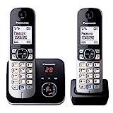 Panasonic KX-TG6822GB DECT Schnurlostelefon mit Anrufbeantworter (strahlungsarm, Eco-Modus, GAP Telefon, Festnetz, Anrufsperre, DUO) schwarz