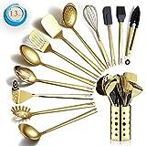Berglander Gold Kochutensilien Set, Edelstahl 13 Stück Küchenutensilien Set mit Titan Vergoldung, Küchengeräte Set mit Utensilienhalter, spülmaschinenfest, leicht zu reinig