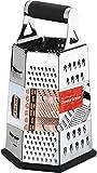 KICHLY [6 Seiten ] Reibe - Edelstahl Vierkantreibe - 24 cm Höhe - Lebensmittelreibe für Hart- & Weichkäse, Gemüse, Ingwer, Zitrone, Orange, Nüsse