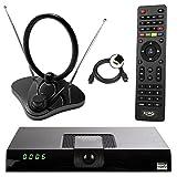 netshop 25 Xoro HRT 8720/8724 Full HD HEVC DVB-T/T2 Receiver + 30 dB ANTENNE (H.265, HDTV, HDMI, Irdeto Zugangssystem, Mediaplayer, PVR Ready, USB 2.0, 12V) schwarz