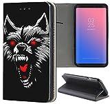 Samsung Galaxy S6 Hülle Premium Smart Einseitig Flipcover Hülle Samsung S6 Flip Case Handyhülle Samsung S6 Motiv (1591 Wolf Böse Schwarz Rot Untier)