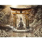Fototapete Buddha Wasserfall 352 x 250 cm - Vlies Wand Tapete Wohnzimmer Schlafzimmer Büro Flur Dekoration Wandbilder XXL Moderne Wanddeko - 100% MADE IN GERMANY - 9331011b