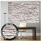 GREAT ART® XXL Poster – Weiße Steinwand – Steinmauer Stonewall Industrie Design Wandverkleidung Mauer Wand Bild Naturstein Wandbild Steine Wanddeko Motiv Fotoposter (140 x 100 cm)