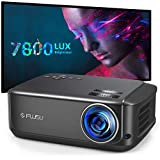 FUJSU Heimkino-Beamer 80,000 Stunden 1080P Full HD, 7800 Lumen LCD LED Video Projektor für Film Unterhaltung Spiele Reisen, unterstützt HDMI VGA AV USB Micro SD