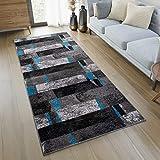 TAPISO JAWA Läufer Teppich Flur Brücke Meliert Modern Kurzflor Grau Schwarz Blau Viereck Streifen Muster Designer Wohnzimmer ÖKOTEX 100 x 260