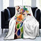 Kuscheldecke / Sofadecke / Bettdecke, Giraffenmalerei, modern, bunt, 100 % Polyester-Mikrofaser