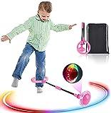 Boyigog Kinder Blinkender Springring, Knöchel Skip Ball, Faltbare Knöchelsprungball für Kinder (Rosa)