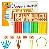 MMTX Montessori Mathe Spielzeug, Rechnen Lernen Spiel, Zahlenlernspiel, Zählstäbchen, Holz Spielzeug Lernspielzeug für Kinder 3 4 5 6 7