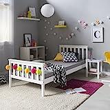 Homestyle4u 1416, Holzbett 90x200 cm Weiß, Bett mit Lattenrost, Kiefer Massivholz