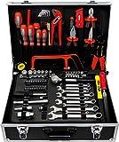 Famex 759-65 Alu Werkzeugkoffer gefüllt 125-tlg. | Werkzeugkasten mit Werkzeugset | Werkzeugbox befüllt | Für Haushalt und Garage