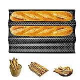 Heatigo Baguette Backform Baguette-backblech für 3 Baguettes Baguette Backform für Backen Französisches Antihaft Baguette-Backblech
