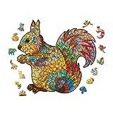 pengge Holzpuzzlespiel, Einzigartige Form Puzzles Stücke Spielzeug Spielzeug Für Erwachsene Und Kinder (Tiermuster)(M 200 pcs, Squirrel)
