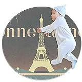 Teppiche Leichtgewicht Bonne Annee Eiffelturm Paris Bodenmatte Weicher Teppich Durchmesser 27,6 Zoll für zu Hause Wohnzimmer Esszimmer Schlafzimmer
