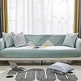 KENEL Segmentiert Sofa Überwürfe Cover, Ecksofabezug Rückenlehne Handtuch Sommergewaschene und kalte gestreifte Sofakissen-90 * 90 cm_Grün-Verkauft in stück