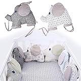 Maril Bettumrandung Baby Nestchen Kinderbett Stoßstange Baumwolle Cartoon Elefant Weben Bettumrandung Kantenschutz Kopfschutz Für Babybett 6PCS appealing