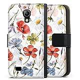 DeinDesign Klapphülle kompatibel mit Samsung Galaxy S4 Mini Handyhülle aus Leder schwarz Flip Case Blume Muster UtArt