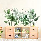 LucaSng Groß Wandsticker Wandtattoo, Grün Blätter Pflanze Wandaufkleber Wandbilder Wand Deko für Wohnzimmer Kinderzimmer Küche Flur F