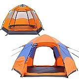 Pop Up Zelt, Ultraleichte 3 bis 4 Personen Camp Wurfzelt, Doppeltür mit Netz, Großer Raum Leichtes Zelt, Doppelschichtig Wasserdichtes, Faltbare Campingzelt, 3 Jahreszeiten Kuppelzelt