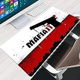 LJUKO Großes Mauspad Rot Wild Pistole Buchstaben 800x400mm XXL Mauspad Gaming XXL Mousepad groß mit Motiv Tischunterlage Large Size verbessert Präzision und Geschwindigkeit für Maus und Tastatur