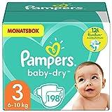 Pampers Windeln Größe 3 (6-10kg) Baby Dry, 198 Stück, MONATSBOX, Bis Zu 12Stunden Rundum-Auslaufschutz