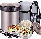 Thermobehälter Warmhaltebox Hochwertiger Isolierbehälter Box für Warme Speisen, Babynahrung, Essen, Suppe - Inkl. 3 Boxen & Löffel,gray