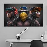 WFLWLHH Bilder Leinwandbild - Leinwanddrucke 3 Affen Poster Coole Graffiti Street Art Leinwand Malerei Wandkunst Für Wohnzimmer Wohnkultur Poster Und Drucke Wanddekoration-(60X90Cm) Rahmenlos