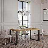 Itamoby, Ausziehtisch Tecno Premium 180-440 cm, Paneele aus Möbelholz, Natur und Anthrazit L.180 P.90 H.77 (ausziehbar auf L.440 mit fünf Verlängerungen)