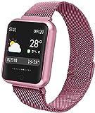 Smart Watch Sport Ip68 Smart Watch P68 Fitness Armband Aktivitätstracker Pulsmesser Blutdruck für iOS Android Pink Daily Wear/Silber-Pink