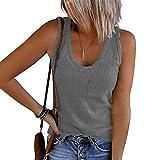 Betory Damen Tanktop mit U-Ausschnitt, gerippt, ärmellos, Sommer, lässig, solide, Laufen, eng anliegend, Cami Shirt Gr. XXX-Large, grau