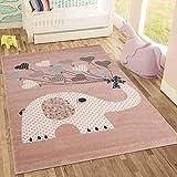 Fashion4Home   Kinderteppiche Elefant mit Herzen Ballons   Kinderteppich für Mädchen und Jungs   Teppich für Kinderzimmer   Schadstofffrei