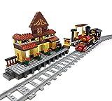 Brigamo Bausteine Zug Set mit Bahnhof, Eisenbahn, Bahnsteig und Schienenset, Konstruktionsspielzeug