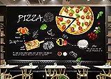 3D Fototapete Moderne Wanddeko Wandbilder Pizza mit schwarzem Essen Vlies Wand Tapete Wohnzimmer Schlafzimmer Büro Flur Dekoration 400x280 cm