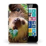Handy Hülle kompatibel mit Nokia Lumia 630 Wildes Tier Faultier Hängend/Wald Transparent Klar Ultra Dünne Handyhülle Case Cover