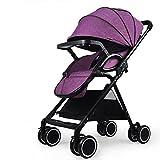 LICHUAN Baby-Kinderwagen mit leichtem Schock-Regenschirm für Babys und Kinder, hohe Landschaft, zusammenklappbarer Rollwagen, 0–36 Monate (Farbe: Violett)