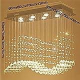 YHtech. nordico Pendelleuchten Pendel Leuchten Kristall-Kronleuchter, Modern Einfach Wohnzimmer Esszimmer Bar Rectangle Restaurant Kronleuchter, 8 Lichter / 100 * 30 * 70cm