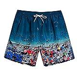 KIMODO Herren Badeshorts Boardshorts Männer Schnelltrockend Sport Shorts Badehose Schwimmhose Strandhose Casual Swim Trunks Freizeithose Beachshorts (F-Blau, XL)