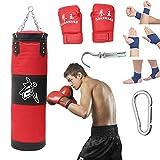 Boxsack mit Kette aus Stahl mit vier Spitzen, leerer Sandsack für Muay Thai Sparring Kickboxing, Training, Marzialkunst, (A)