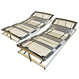 AM Qualitätsmatratzen Ergonomischer 7-Zonen Lattenrost - 160x200 cm - fertig montiert - 44 Leisten - Kopf- und Fußteil verstellbar - Holmabsenkung für Schulter und Becken - 160x200cm