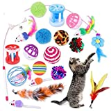 BSDIHRIWEJFHSIE 20 Stück Katzenspielzeug Innenkatzen Kätzchen Teaser Zauberstab Katzentunnel Spielzeug Mäuse & Bälle Haustierzähne Reinigungsspielzeug für Katzen Haustierbedarf-Multicolor, Polen