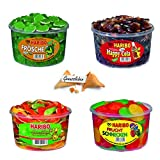 Haribo 4er Set Bundle Mix Rotella Fruchtschnecken, Frösche, Anaconda Schlangen, Happy Cola und 1 Genussleben Glückskeks Gratis