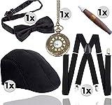 TK Gruppe Timo Klingler 5 in 1 - 20er Accessoires Herren Männer Set für Fasching & Karneval - Verkleidung wie Gatsby, Charleston - Kostüm
