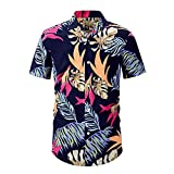 DYXYH Sommer Kurzarm Mode Männer Shirts Casual Umlegekragen Knopf Hemd Männer Vintage Muster Print Streetwear (Color : Blue, Size : M code)