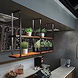 JIE KE Display-Racks Bar Deckenwein-Rack, Industrial Home 2 Tiere Floating Regale Holz Trenngestell, Hängen, für Küche Restaurant Bar Speicherorganisator (Size : 120 * 30 * 80CM)