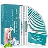 White Stripes MayBeau 56 Bleaching Stripes mit 2 Zahnaufhellung Stift,Professionelles Zahnaufheller Streifen Teeth Whitening Kit für Zahnbleaching Weiße Zähne Zahnweiß