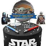 Niedliche Yoda-Kuchenaufsätze mit Mandalorianischem Thema, 3 Stück, Star Wars Happy Birthday Baby Cute Yoda Party Supplies Kuchendekorationen für Star Wars Fans